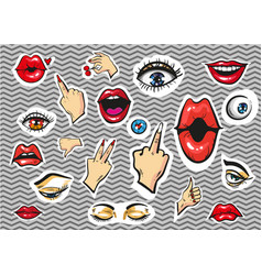 Fashion stickers eyes lips and hands vector