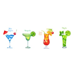 Set of watercolor cocktails isolated on white vector