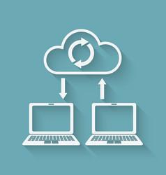 sync data cloud computing concept vector image