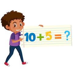 A boy holding math question card vector
