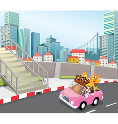 A pink vehicle with animals running at city vector
