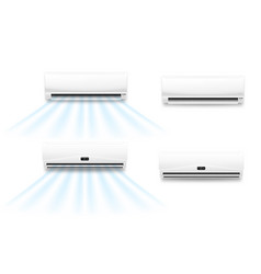 Air conditioner mockups with cold or hot wind flow vector