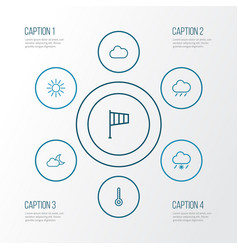 Air outline icons set collection of rain snowy vector