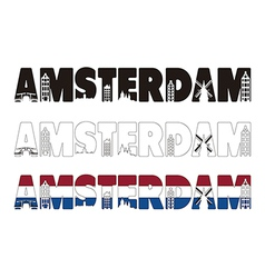 Amsterdam word with skyline including within vector image