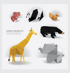 animals origami set vector image