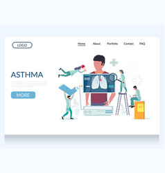 Asthma website landing page design template vector