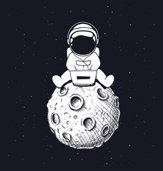 Astronaut with laptop at moon vector