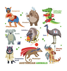 australian animals cartoon animalistic vector image