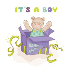 Baby bear in a box - shower or arrival card vector