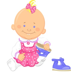 Baby girl learns to put on ones shoes vector