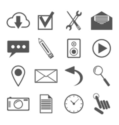 Black and white icons set for web and mobile vector