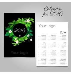 Black calendar 2016 with green floral wreath vector image