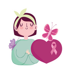 breast cancer awareness woman flower butterfly vector image
