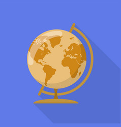 brown globe icon flat style vector image