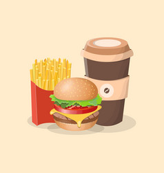 Burger french fries and coffee to go - cute vector