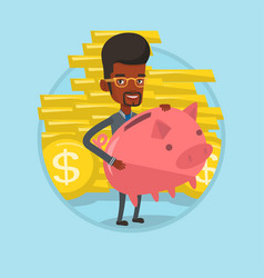 Businessman carrying big piggy bank vector