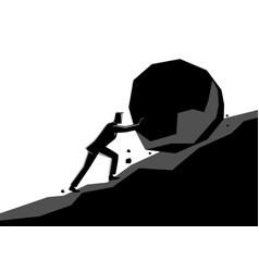 Businessman pushing large stone uphill vector