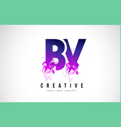 bv b v purple letter logo design with liquid vector image