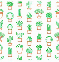 Cactus and succulents in pots seamless pattern vector