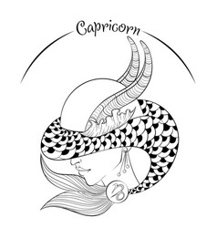 Capricorn as a girl in hat vector