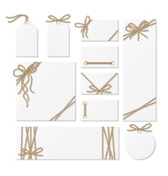 Cards tags and labels with rope bows ribbons vector image