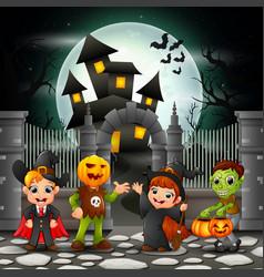 cartoon happy kids with halloween background vector image