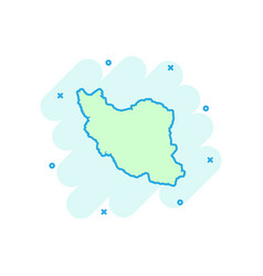 cartoon iran map icon in comic style iran sign vector image