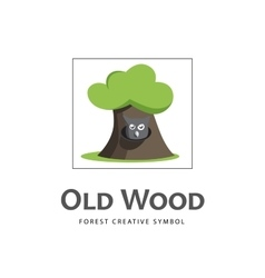 Cartoon old tree icon with owl vector image