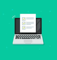 check list document on laptop flat cartoon vector image