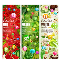 Color diet vitamin food vegetables fruits nuts vector