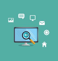 Computer with social media marketing icons vector