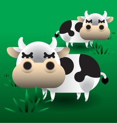 Cows on grass vector