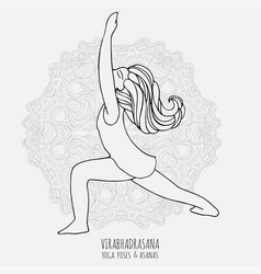 Cute girl doing yoga yoga poses and asanas in vector