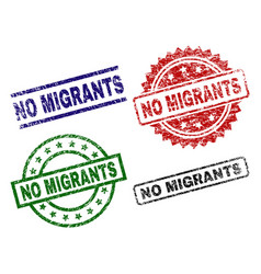 Damaged textured no migrants seal stamps vector