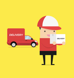 delivery courier carrying cardboard box vector image