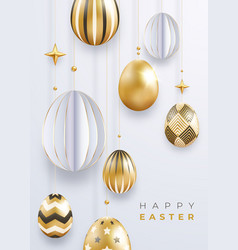 easter holiday background with realistic golden vector image