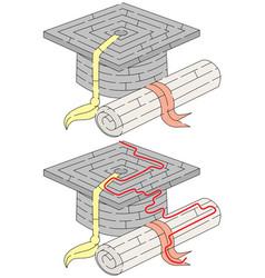 Easy academic cap maze vector