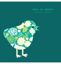 emerald flowerals chicken silhouette Easter vector image