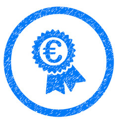 Euro award seal rounded icon rubber stamp vector