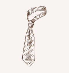 Fashionable striped male necktie hand drawn vector
