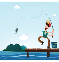 Fishing in the sea vector