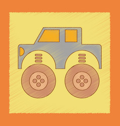 Flat shading style icon kids car vector