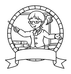 Funny teacher Coloring book or emblem vector