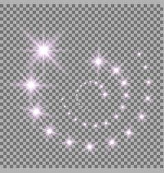 Glittering flying stars purple color vector