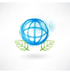 Globe and leafs grunge icon vector image