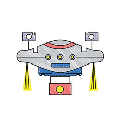 Grated technology drone with propeller and digital vector