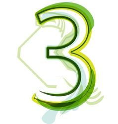 Green number 3 vector