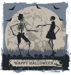 Halloween greeting card with couple skeleton vector