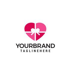 heart gift logo design concept template vector image