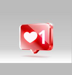 heart like icon sign follower 3d banner love vector image